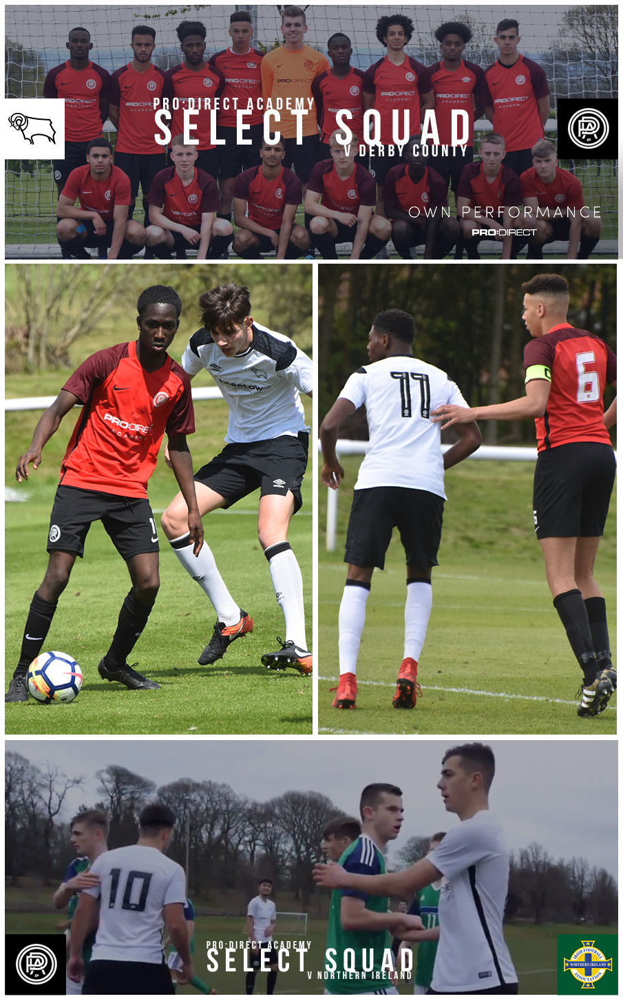 The Pro:Direct Academy Select Squad in action versus Derby County Academy and Northern Ireland U19s.
