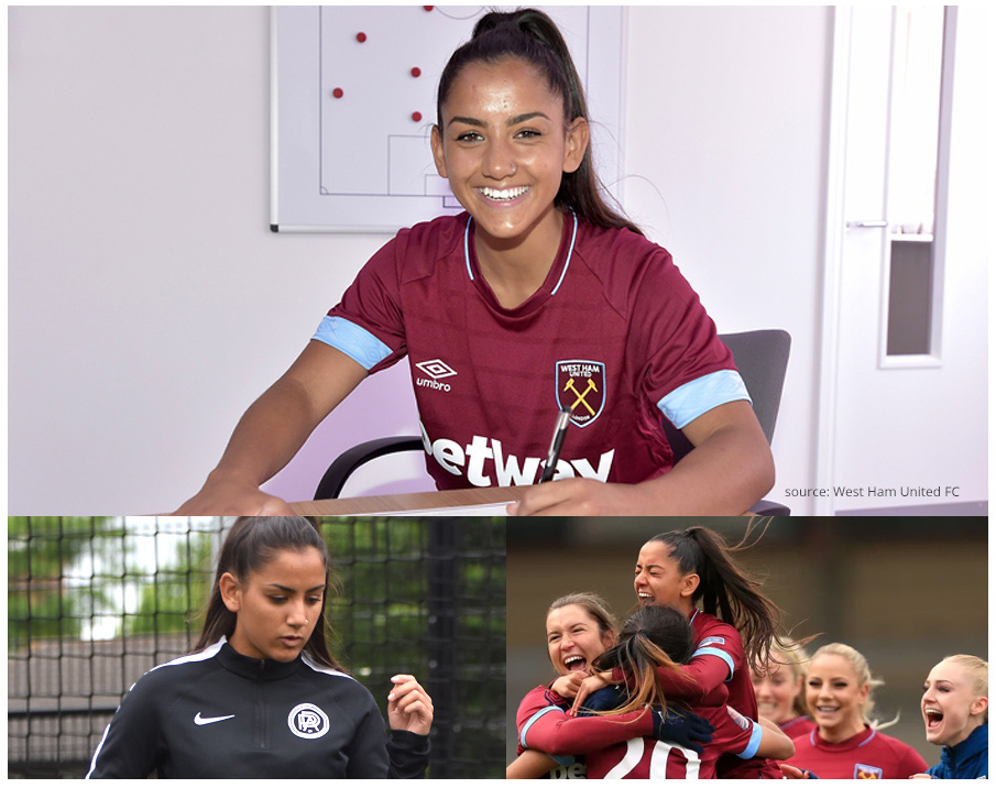Rosie signs for West Ham (top), Head of Girls at PDA (left), celebrations on winning the FA Cup Semi-Final (right)